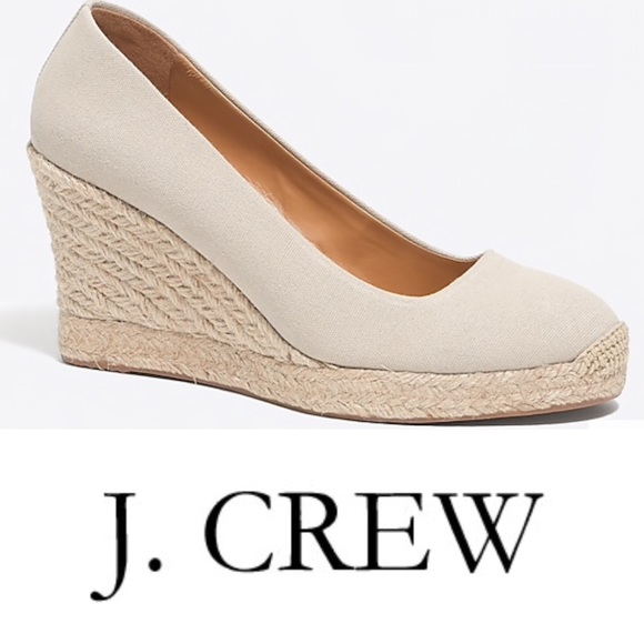 cee1722a432 Jcrew Canvas Espadrille Wedges NWT